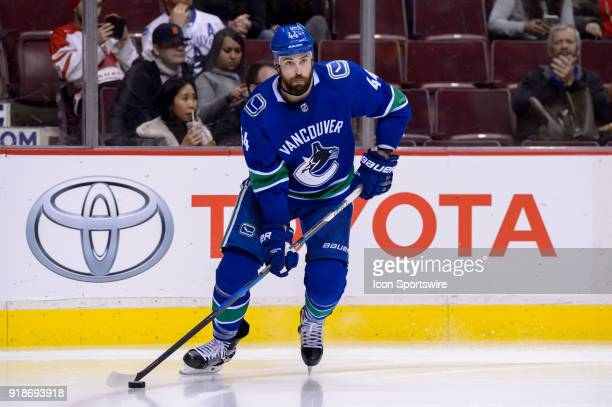 Vancouver Canucks Defenceman Erik Gudbranson skates with the puck during their NHL game against the Florida Panthers at Rogers Arena on February 14...