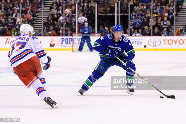 Vancouver Canucks Defenceman Michael Del Zotto skates with the puck during their NHL game against the New York Rangers at Rogers Arena on February 28...