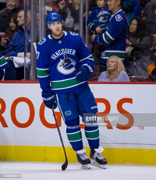 Vancouver Canucks defenseman Ben Hutton against the Los Angeles Kings in a NHL hockey game on September 20 at Rogers Arena in Vancouver BC