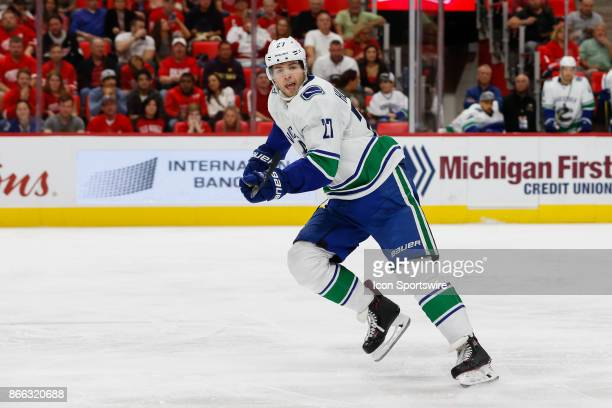 Vancouver Canucks defenseman Ben Hutton skates during a regular season NHL hockey game between the Vancouver Canucks and the Detroit Red Wings on...