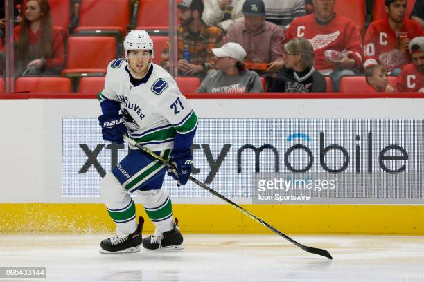 Vancouver Canucks defenseman Ben Hutton skates during the third period of a regular season NHL hockey game between the Vancouver Canucks and the...