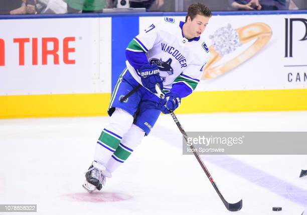 Vancouver Canucks defenseman Ben Hutton skates during the warmup before a game between the Vancouver Canucks and the Toronto Maple Leafs at...