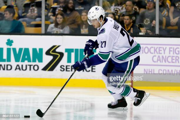 Vancouver Canucks defenseman Ben Hutton starts a rush up ice during a game between the Boston Bruins and the Vancouver Canucks on October 19 at TD...