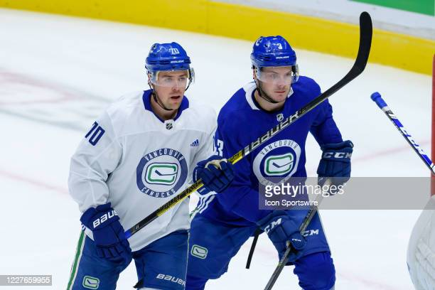Vancouver Canucks Defenseman Brogan Rafferty defends against Left Wing Tanner Pearson during the Vancouver Canucks Training Camp at Rogers Arena on...
