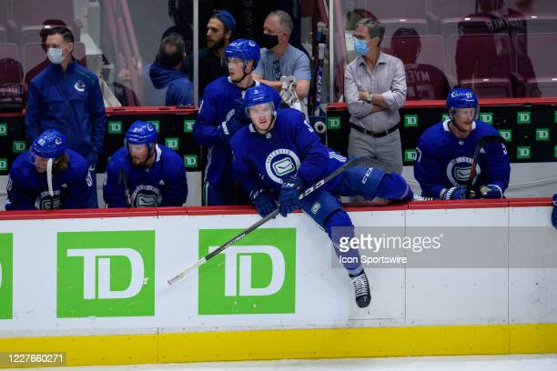 Vancouver Canucks Defenseman Brogan Rafferty jumps over the boards during the Vancouver Canucks Training Camp at Rogers Arena on July 16th 2020 in...