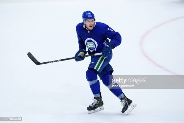 Vancouver Canucks Defenseman Brogan Rafferty skates up ice during the Vancouver Canucks Training Camp at Rogers Arena on July 16th 2020 in Vancouver...