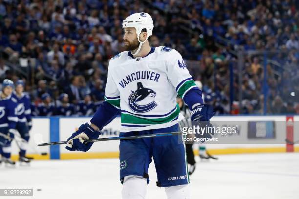 Vancouver Canucks defenseman Erik Gudbranson skates in the second period of the NHL game between the Vancouver Canucks and Tampa Bay Lightning on...