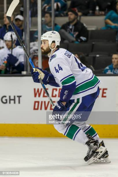 Vancouver Canucks defenseman Erik Gudbranson works up ice during the third period of the regular season game between the San Jose Sharks and the...