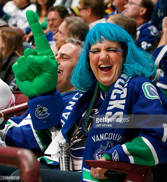 Vancouver Canucks fan sits in the stands during Game Seven of the Western Conference quarterfinal between the Chicago Blackhawks and the Vancouver...