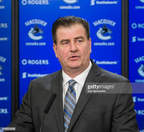 Vancouver Canucks General Manager Jim Benning speaks to the media after a game between against the Vancouver Canucks and Detroit Red Wings Benning...