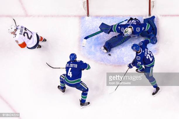 Vancouver Canucks Goalie Anders Nilsson makes a save during their NHL game against the Florida Panthers at Rogers Arena on February 14 2018 in...