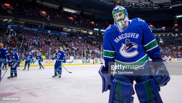 Vancouver Canucks Goalie Anders Nilsson warms up prior to the start of a NHL hockey game against the Arizona Coyotes on April 05 at Rogers Arena in...
