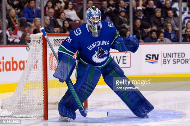 Vancouver Canucks Goalie Anders Nilsson watches the play during their NHL game against the Florida Panthers at Rogers Arena on February 14 2018 in...