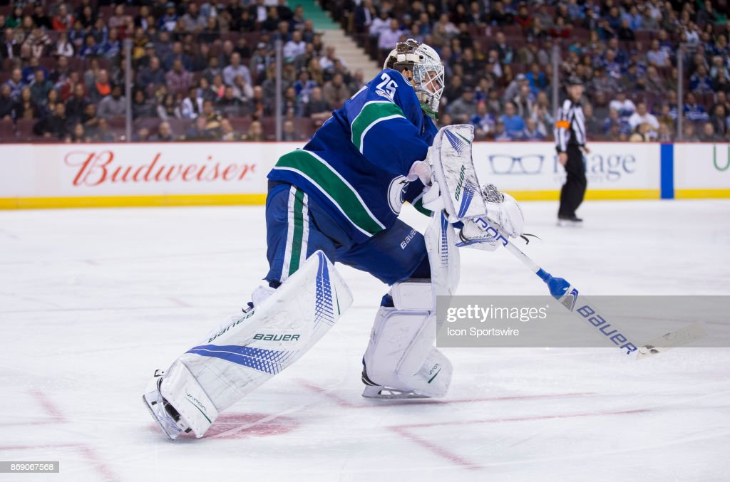 Vancouver Canucks Goalie Jacob Markstrom Stick Handles The Puck News Photo Getty Images