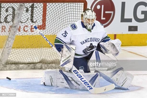 Vancouver Canucks Goalie Jacob Markstrom takes shots during warmup before the regular season NHL game between the Vancouver Canucks and the Toronto...