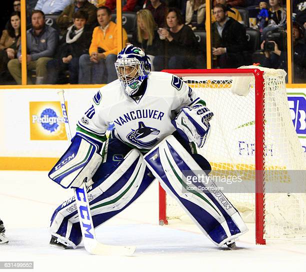 Vancouver Canucks goalie Ryan Miller is shown during the NHL game between the Nashville Predators and the Vancouver Canucks held on January 10 at...