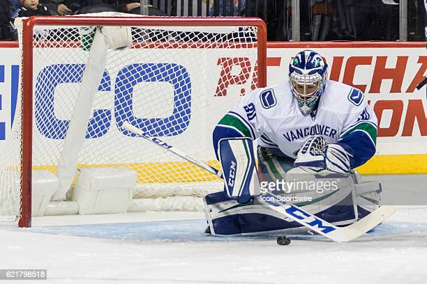 Vancouver Canucks Goalie Ryan Miller makes a save during the second period a regular season NHL game between the Vancouver Canucks and the New York...