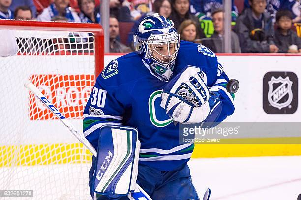 Vancouver Canucks Goalie Ryan Miller makes a save during their NHL game against the Florida Panthers at Rogers Arena on January 20 2017 in Vancouver...