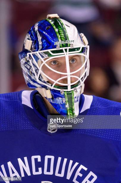 Vancouver Canucks goaltender Jacob Markstrom looks up ice during their NHL game against the Montreal Canadiens at Rogers Arena on November 17, 2018...