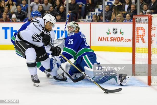 Vancouver Canucks Goaltender Jacob Markstrom stretches to make a save on Los Angeles Kings Left Wing Alex Iafallo during their NHL game at Rogers...