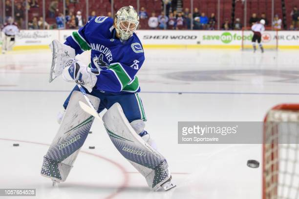 Vancouver Canucks goaltender Jacob Markstrom warms up prior to their NHL game against the Colorado Avalanche at Rogers Arena on November 2, 2018 in...