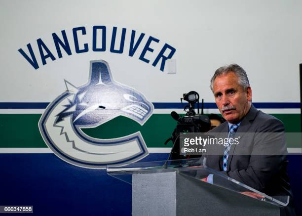 Vancouver Canucks Head Coach Willie Desjardins addresses the media after losing 32 to the Edmonton Oilers in NHL action on April 8 2017 at Rogers...