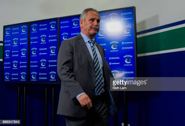 Vancouver Canucks Head Coach Willie Desjardins leaves the post game press conference after addressing the media in NHL action on April 8 2017 at...