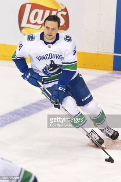 Vancouver Canucks Left Wing Brendan Gaunce skates during warmup before the regular season NHL game between the Vancouver Canucks and the Toronto...