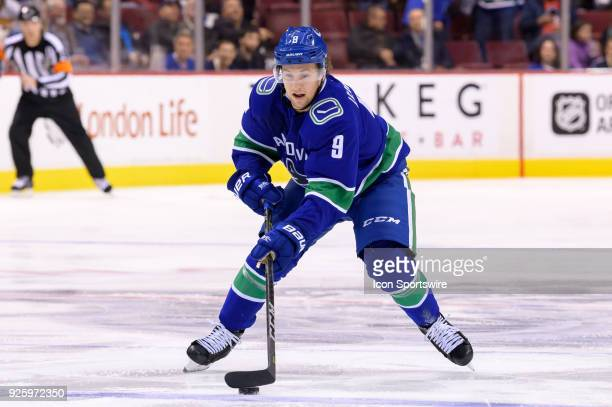 Vancouver Canucks left wing Brendan Leipsic skates with the puck during their NHL game against the New York Rangers at Rogers Arena on February 28...