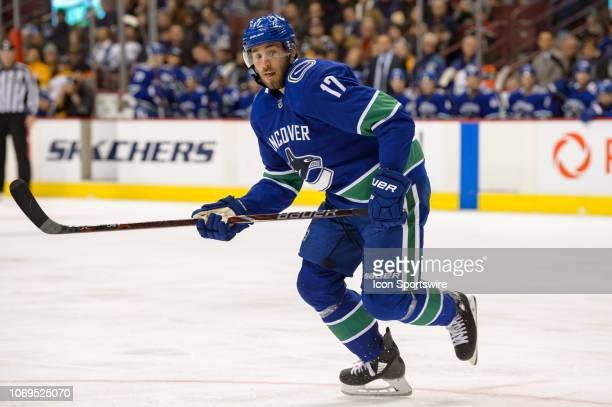 Vancouver Canucks Left Wing Josh Leivo skates up ice during their NHL game against the Nashville Predators at Rogers Arena on December 6, 2018 in...