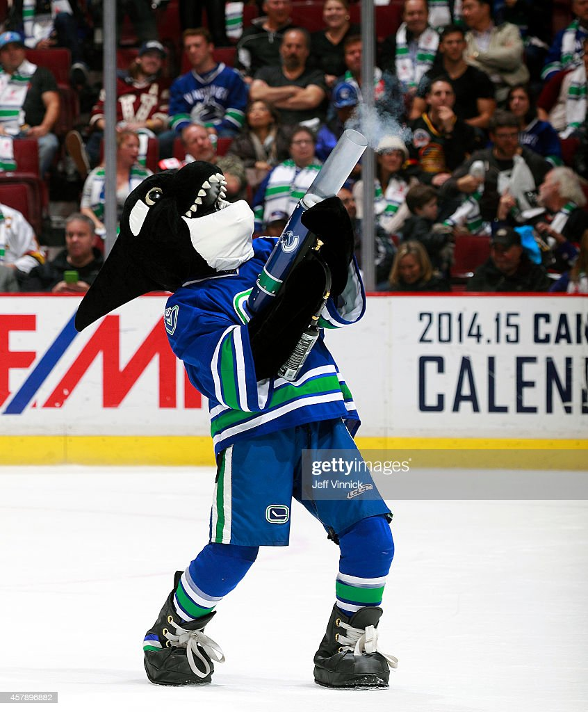 Vancouver Canucks mascot Fin entertains fans during the NHL game between the Vancouver Canucks and the Tampa Bay Lightning at Rogers Arena October 18, 2014 in Vancouver, British Columbia, Canada.