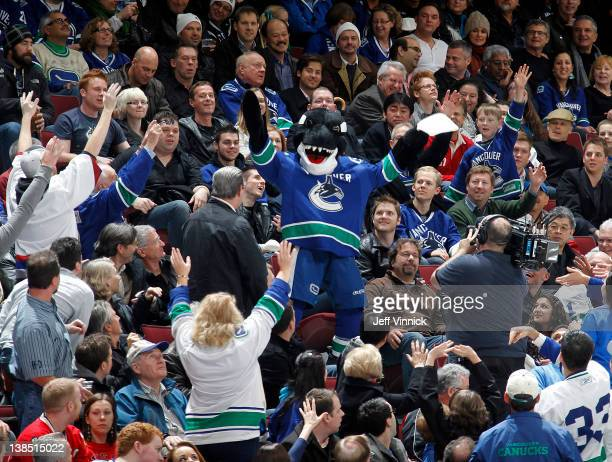 Vancouver Canucks mascot Fin entertains the crowd during their game against the Chicago Blackhawks at Rogers Arena January 31 2012 in Vancouver...
