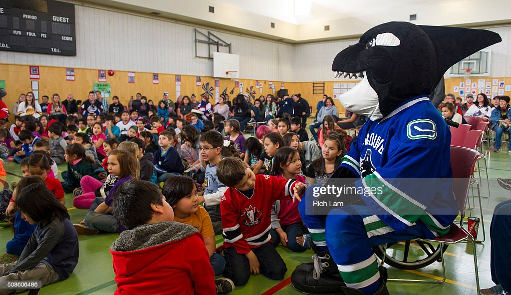 Vancouver Canucks mascot Fin visits Sk'elep School of Excellence for a visit on Day 2 of 2016 Scotiabank Hockey Day in Canada on February 5, 2016 in Kamloops, British Columbia, Canada.