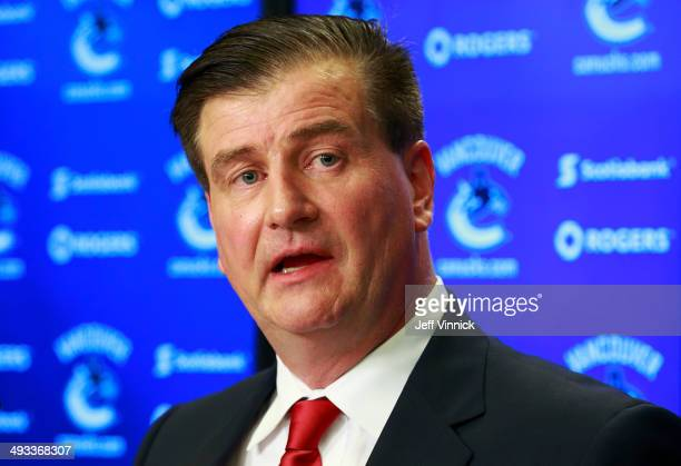 Vancouver Canucks new General Manager talks during a press conference at Rogers Arena May 23 2014 in Vancouver British Columbia Canada
