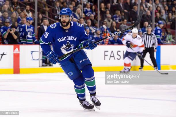 Vancouver Canucks Right Wing Darren Archibald skates up ice during their NHL game against the Florida Panthers at Rogers Arena on February 14 2018 in...