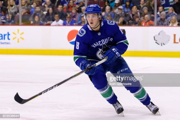 Vancouver Canucks Right Wing Jake Virtanen skates up ice during their NHL game against the Arizona Coyotes at Rogers Arena on March 7 2018 in...