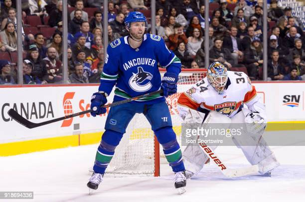 Vancouver Canucks Right Wing Thomas Vanek and Florida Panthers Goalie James Reimer watch the play during their NHL game at Rogers Arena on February...