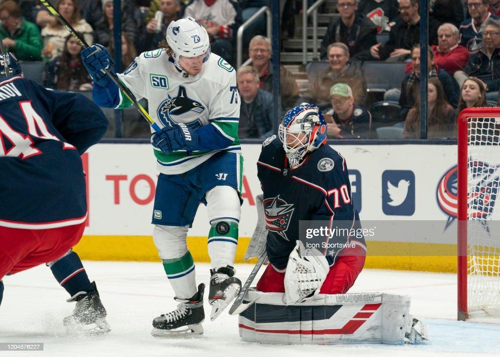 NHL: MAR 01 Canucks at Blue Jackets : News Photo