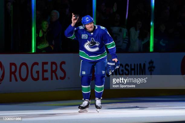 Vancouver Canucks Right Wing Tyler Toffoli is named 1st star after their NHL game against the New York Islanders at Rogers Arena on March 10 2020 in...