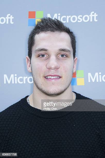 Vancouver Canucks star Bo Horvat celebrates NHL 17 with his fans at the Microsoft Store at Pacific Centre on December 17 2016 in Vancouver Canada