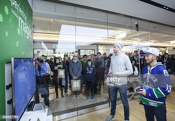 Vancouver Canucks star Jacob Markstrom celebrate NHL 17 with his fans at the Microsoft Store at Pacific Centre on December 17 2016 in Vancouver Canada