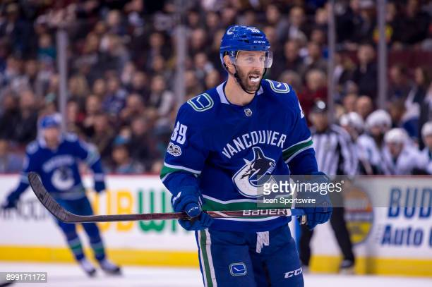 Vancouver Canucks Winger Sam Gagner watches the play during their NHL game against the San Jose Sharks at Rogers Arena on December 15 2017 in...