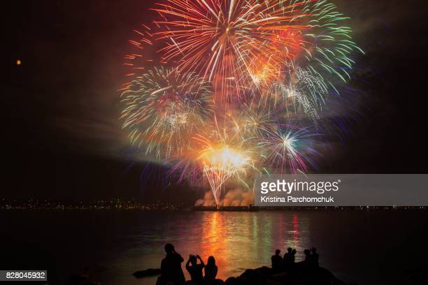 vancouver celebration of light 2017, aug 2 at english bay - english bay stock photos and pictures