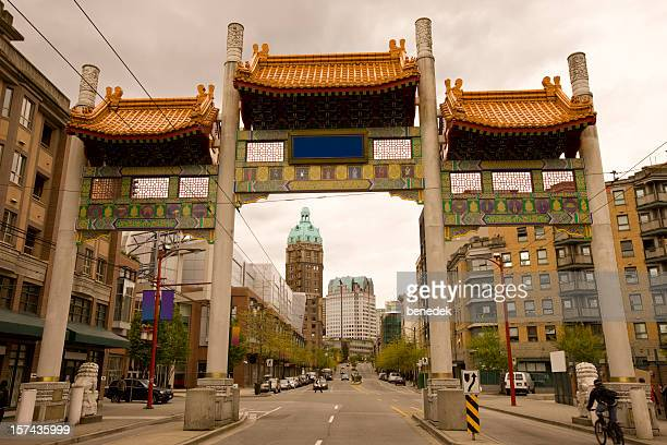 vancouver chinatown and millenium gate - chinatown stock pictures, royalty-free photos & images