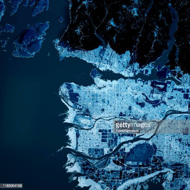 vancouver city 3d renderen blue top view sep 2019 - frankramspott stockfoto's en -beelden