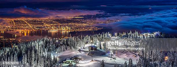 vancouver city from grouse mountain - vancouver canada stock photos and pictures