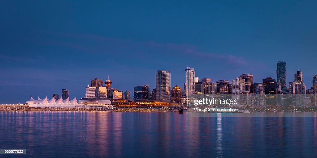 Vancouver city skyline after sunset. : Stock Photo