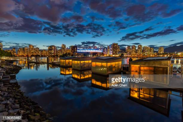 vancouver creekside nightview - victoria canada stock pictures, royalty-free photos & images