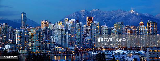 vancouver downtown panorama - vancouver canada stock photos and pictures