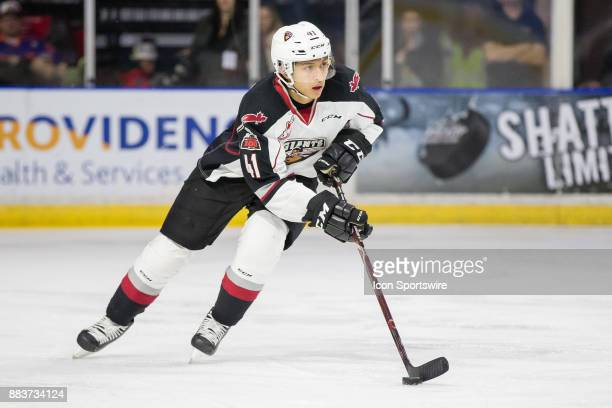 Vancouver Giants defenseman Alex Kannok Leipert skates with the puck during a game between the Vancouver Giants and the Everett Silvertips on...